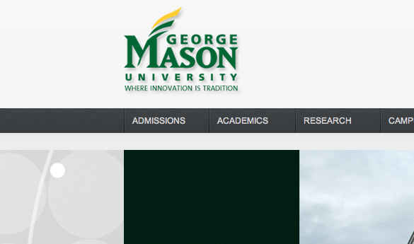 is featured on the new Mason homepage. Overall, the site's new look is intended to improve navigation and lessen the number of necessary clicks. (Screenshot)