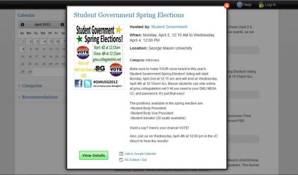 Students who logged in to vote during the first hour and a half of the Student Government election period could only vote for executive positions. (Screenshot)