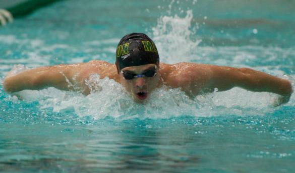 Senior David Kiss competes in butterfly event at a recent meet. (Photo courtesy of George Mason Athletics.)