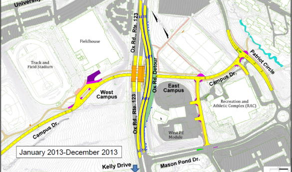 Construction on the Campus Drive underpass will begin in February (photo courtesy of George Mason University).