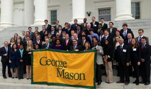 Students, faculty and alumni from George Mason University pose with Virginia Governor Bob McDonnell on the steps of the Capitol Building (photo courtesy of Student Government).