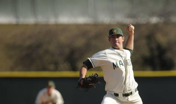 Jake Kalish delivers a pitch to a Fairfield batter in Sunday's 7-4 victory (Photo courtesy of Mason Athletics).
