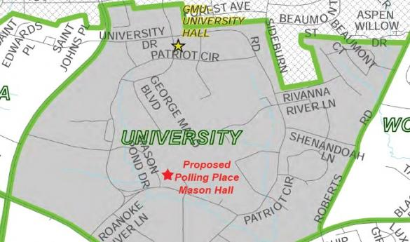 On March 19, a public hearing was held about moving Mason's polling location from University Hall to Mason Hall (photo courtesy of Fairfax County).