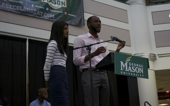 Jordan Foster (right) and Samantha Wettasinghe (left) speak during their inauguration ceremony in the Johnson Center (photo by Jenny Krashin).
