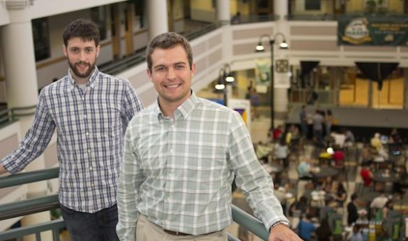 Aaron Hunter and Garrett McNamara created FoodFinder, a website that lists campus dining locations that are currently open. They created the site after realizing the Mason Hour of Operation site was cluttered and hard to navigate (photo by Jenny Krashin).