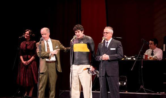 Diane Adair (Mrs. Braddock), Tom Virtue (Mr. Braddock), Brian Tichnell (Benjamin Braddock) and Matthew Arkin (Mr. Robinson) with Darren Richardson at the sound effects table (photo courtesy of Matt Petit).