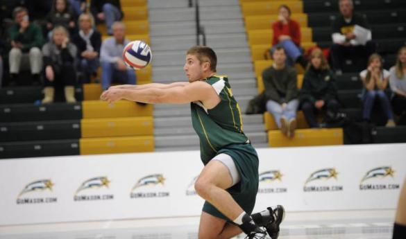 Mason's men's volleyball team is predicted to finish fourth in the EIVA this season (photo courtesy Gomason.com).