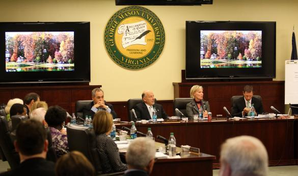 Mason's Board of Visitors meets in the Meese Conference Room in Mason Hall (photo by John Irwin).