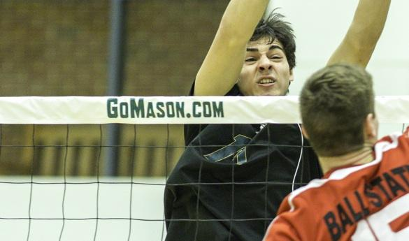 Mason men's volleyball fell to Ball State on Friday night, 3-0 sets (photo by Maurice Jones).