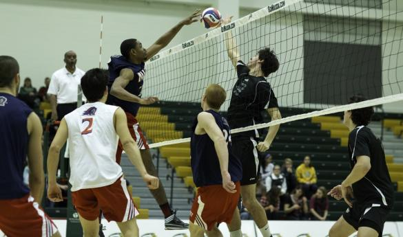 Mason men's volleyball defeats NJIT in three-straight sets Friday night at the RAC (photo by Maurice Jones).